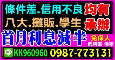 全台灣,免保人,首月利息減半